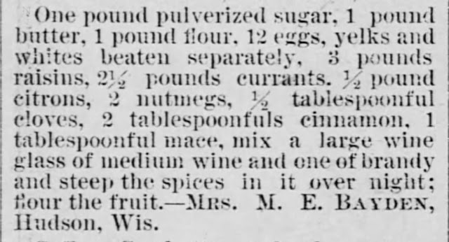Unnamed cake recipe (No. 2) (with nutmeg), The Saint Paul Globe of Saint Paul Minnesota on July 10, 1887, and posted by USA Today Bestselling Author Kristin Holt.