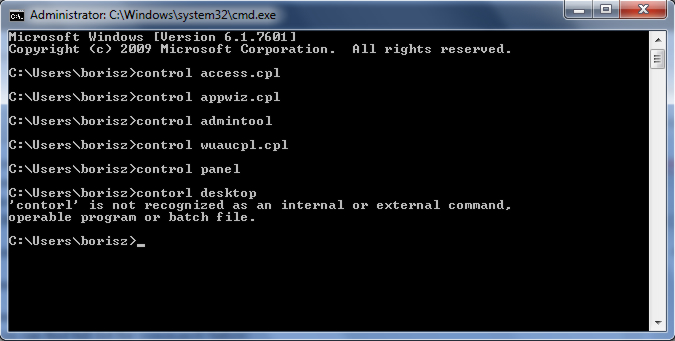 control panel commands cmd