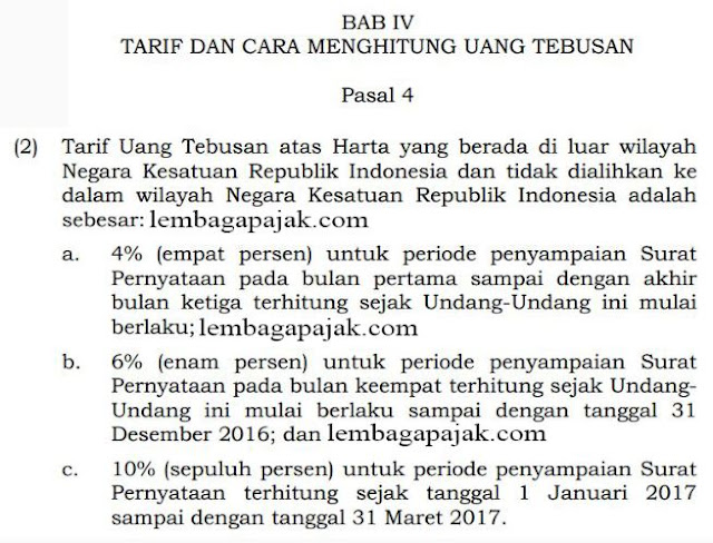 tarif tax amnesty harta luar negeri yang tidak di repatriasi menurut Pasal 4 Ayat 2 UU No 11 Tahun 2016