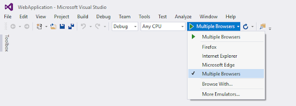 Multiple browsers from the menu item of Visual Studio