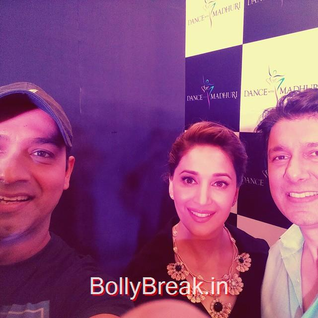selfie time with madhuri dixit , and doctor ne , after a fun interview talking films ,, Madhuri Dixit Hot Pics From Different Events