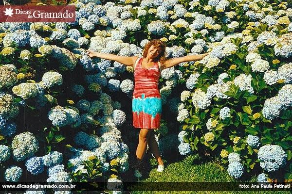 Ana Paula em meio às hortênsias de Gramado/RS