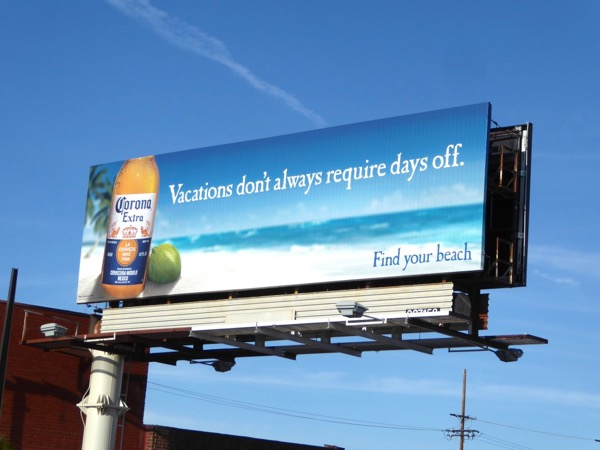 Corona Vacations dont require days off billboard