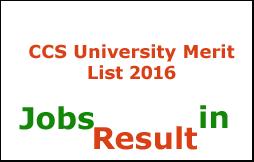CCS University Merit List 2016