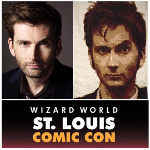 Wizard World, Doctor Who & My Pixel Quilt // St. Louis Folk Victorian - Kristy Daum : A pixel quilt's journey takes an unexpected turn when faced with the man who inspired it.  #DoctorWho #DavidTennant #BBC #Quilting #PixelQuilt #Whovian