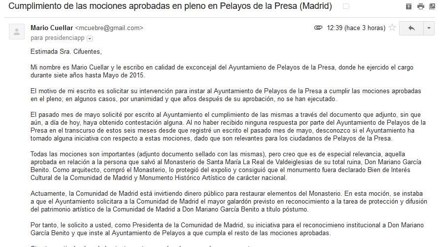 Medios y pol tica correo dirigido a la presidenta de la for Correo comunidad de madrid