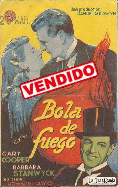 Bola de Fuego - Folleto de mano - Gary Cooper - Barbara Stanwyck