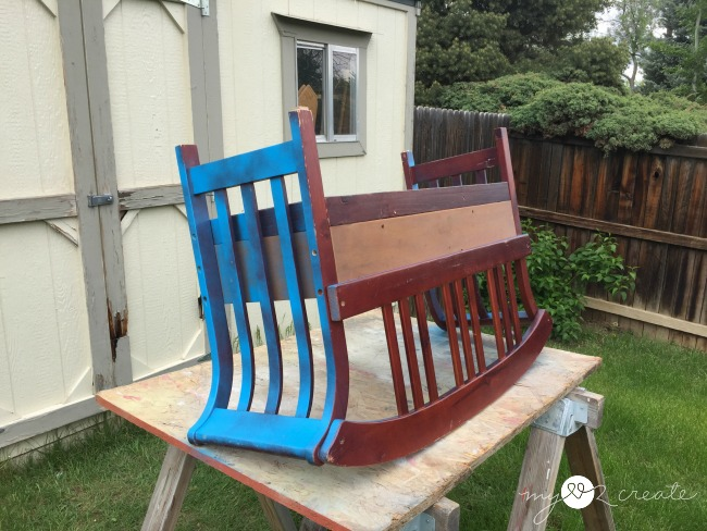 spray painting bench into planter