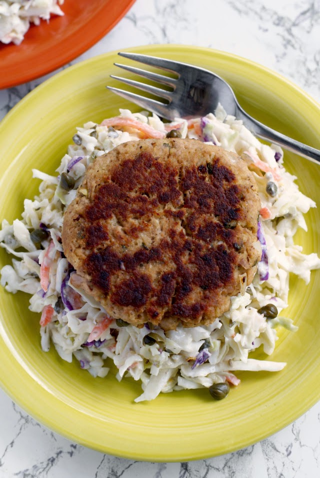 Tuna Cakes with Yogurt Tarter Slaw