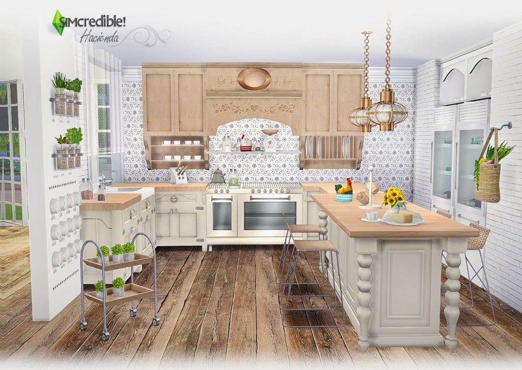 My sims 4 blog hacienda kitchen set by simcredible designs for Kitchen set design