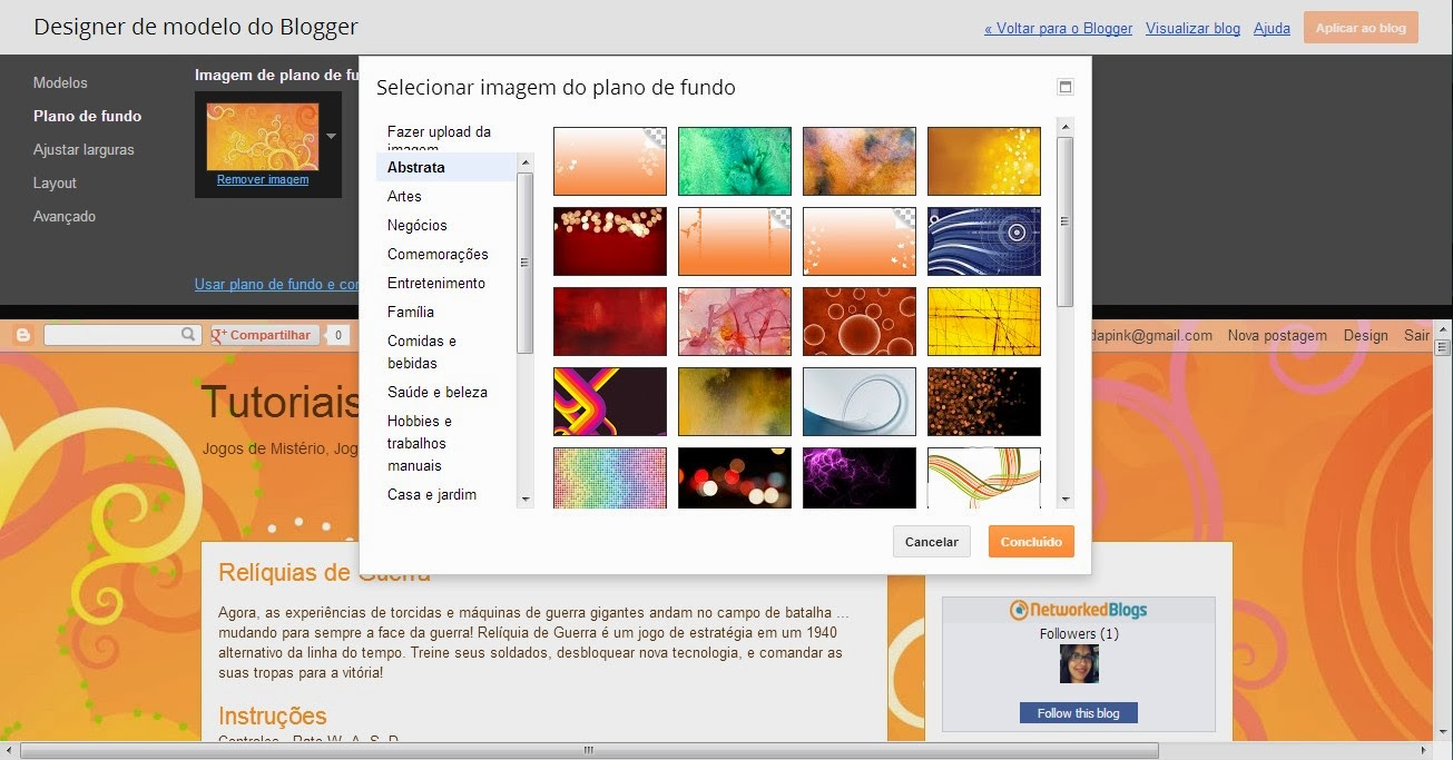 Trocando background no blogger