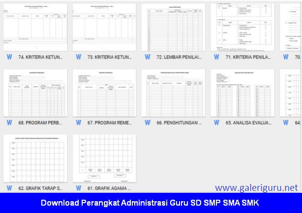 Perangkat Administrasi Guru SD SMP SMA SMK 2018 - Galeri Guru