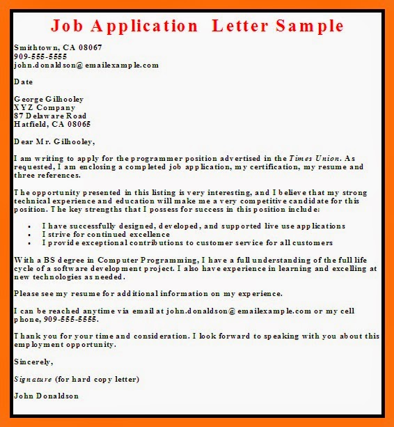 Sample Cover Letter Applying For A Job Samples Of Resume: Business Letter Examples: Job Application Letter