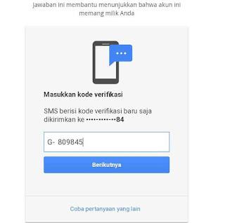 Masukan kode verifikasi di inbok sms