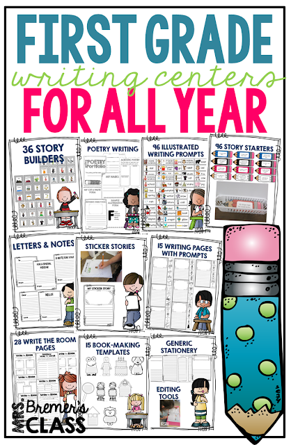Here are some tools that will have your primary students in First Grade LOVE writing...and have YOU set for the full school year!