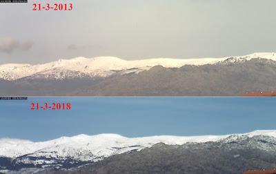 Comparativa nieve sierra de Guadarrama 21-3-2013 frente a 21-3-2018