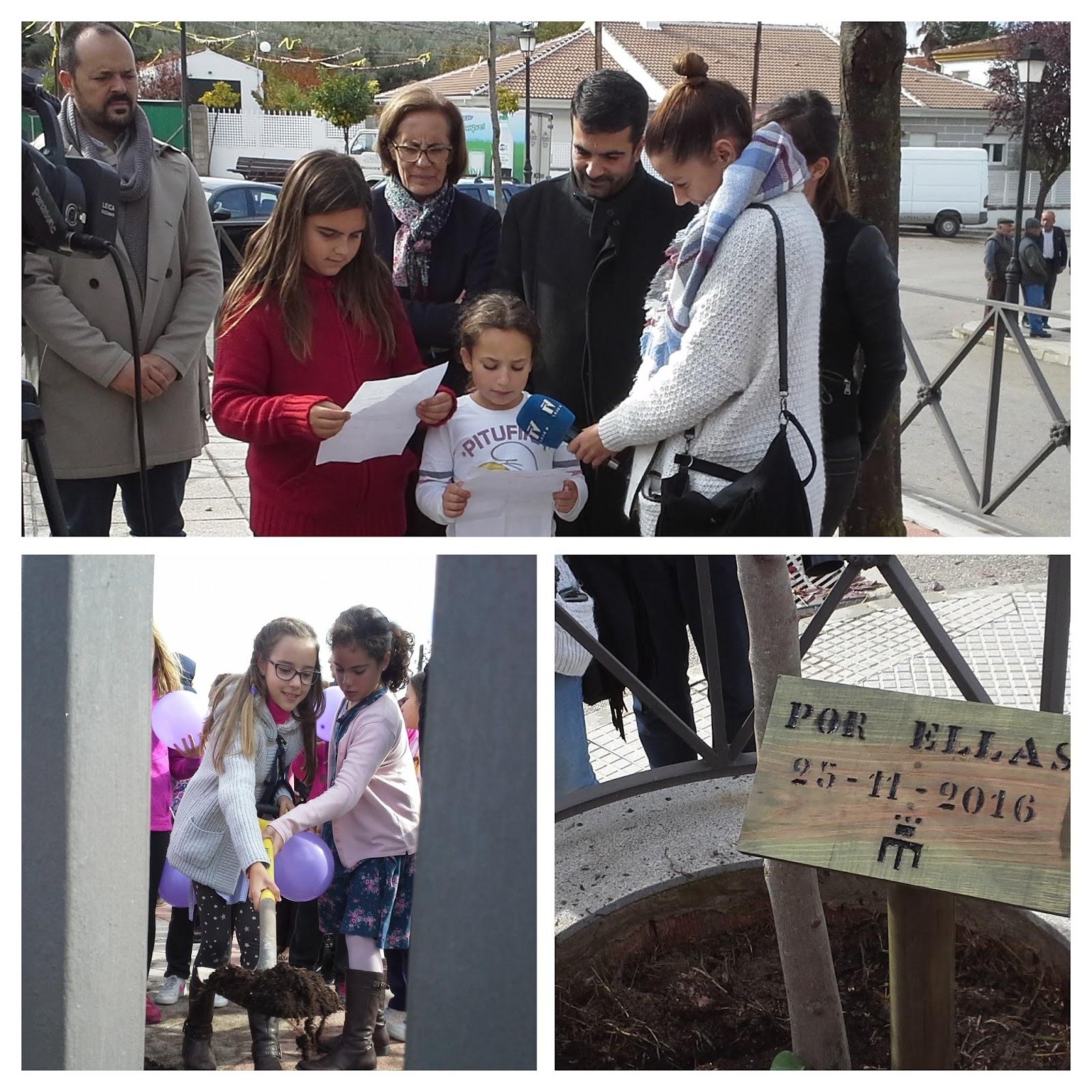 ... del Ayuntamiento de Loja, a la plantación de un árbol en homenaje a las  mujeres que sufren malos tratos, por ello en su pie se puede leer