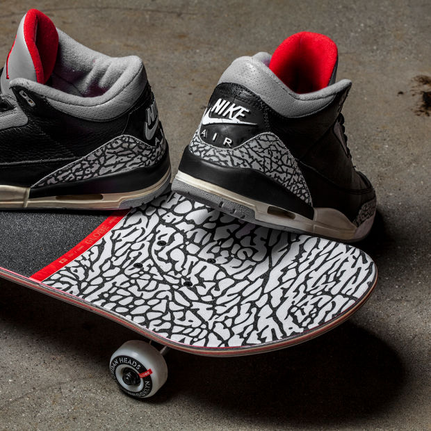 e222b69bbb85 The all-Jordan consignment shop known as Jordan Heads Brooklyn has teamed  up with Globe to present a skate deck inspired by the Air Jordan 3