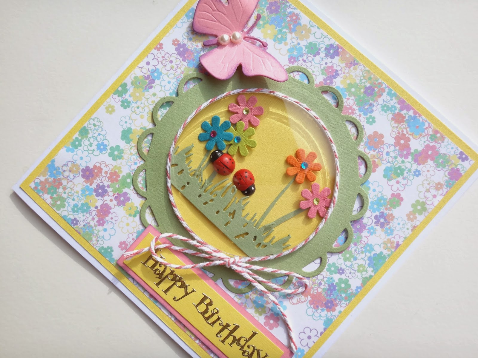 ladybird and flowers shaker card