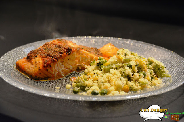 salmon, couscous and veggies תבשיל ירקות וקוסקוס