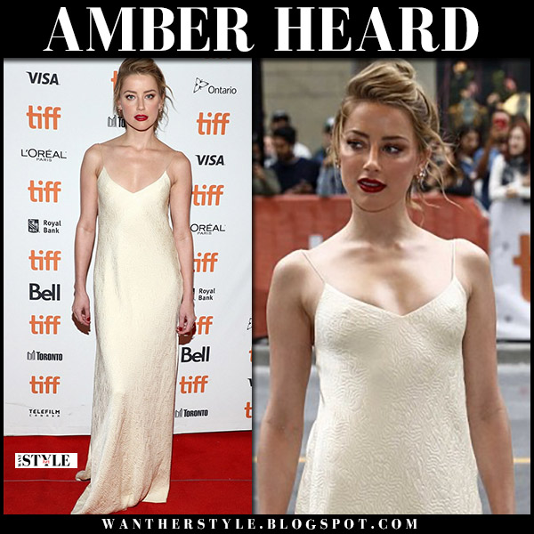 Amber Heard in ivory slip dress red carpet fashion september 9