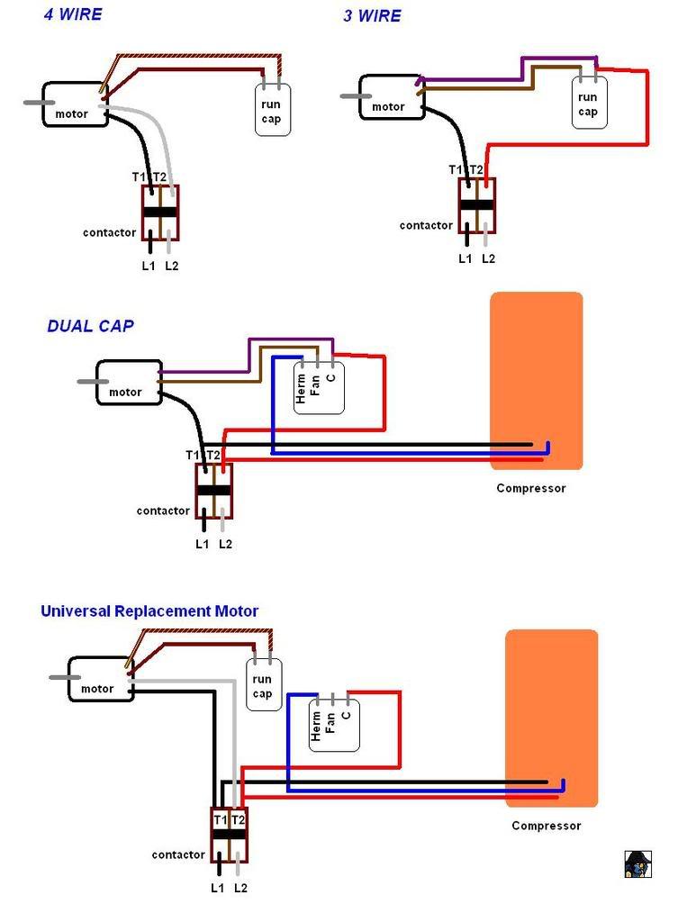 Electric Motor Capacitor Wiring Diagram 7 Pin Blade Trailer Ac Condenser Fan Run To Dayton Electronic Diagrams Fuse