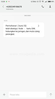 SMS informasi permohonan reset akun di setujui