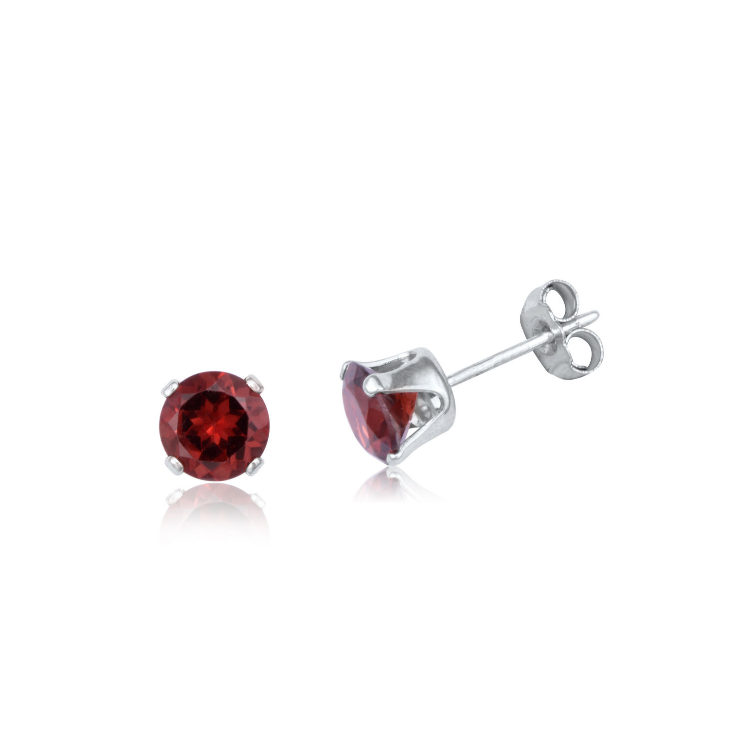 Genuine Sapphire, Ruby, Emerald & Sterling Silver Stud Earrings