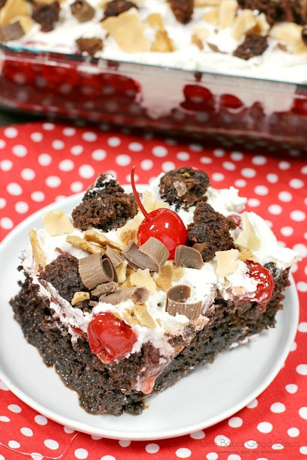 Waffle Cherry Brownie Poke Cake