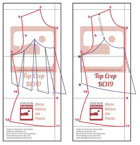 Trazado del molde vuelo de la blusa Crop Top