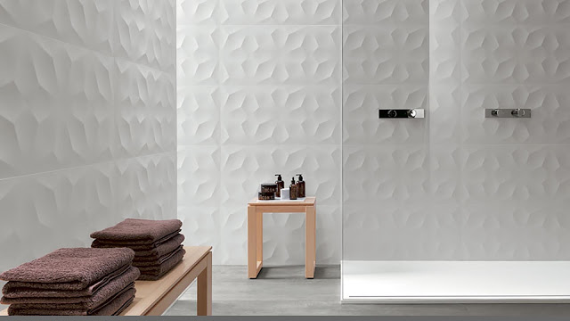Tile design on wall with geometric shapes surfaces