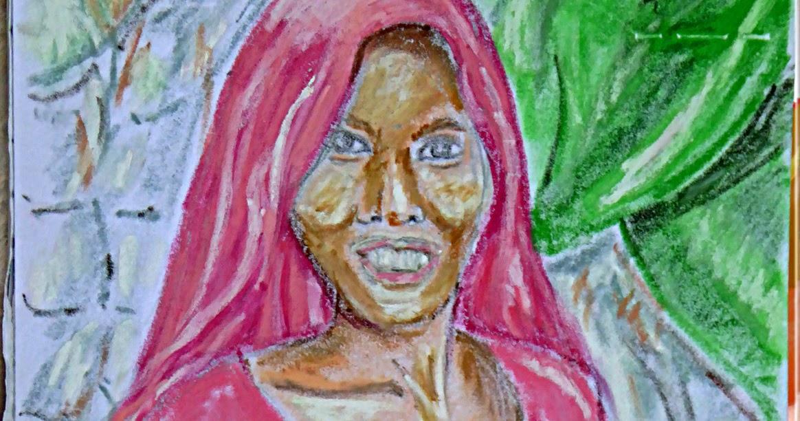 Art de vivre la peinture de peintrefiguratif portrait au pastel gras d 39 une jeune femme indou for Peinture pastel gras