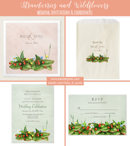 Strawberries and wildflowers custom wedding invitations collection with three background styles