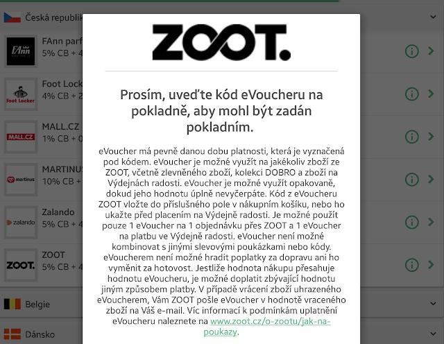 Cashback World - eVoucher Zoot - podmínky