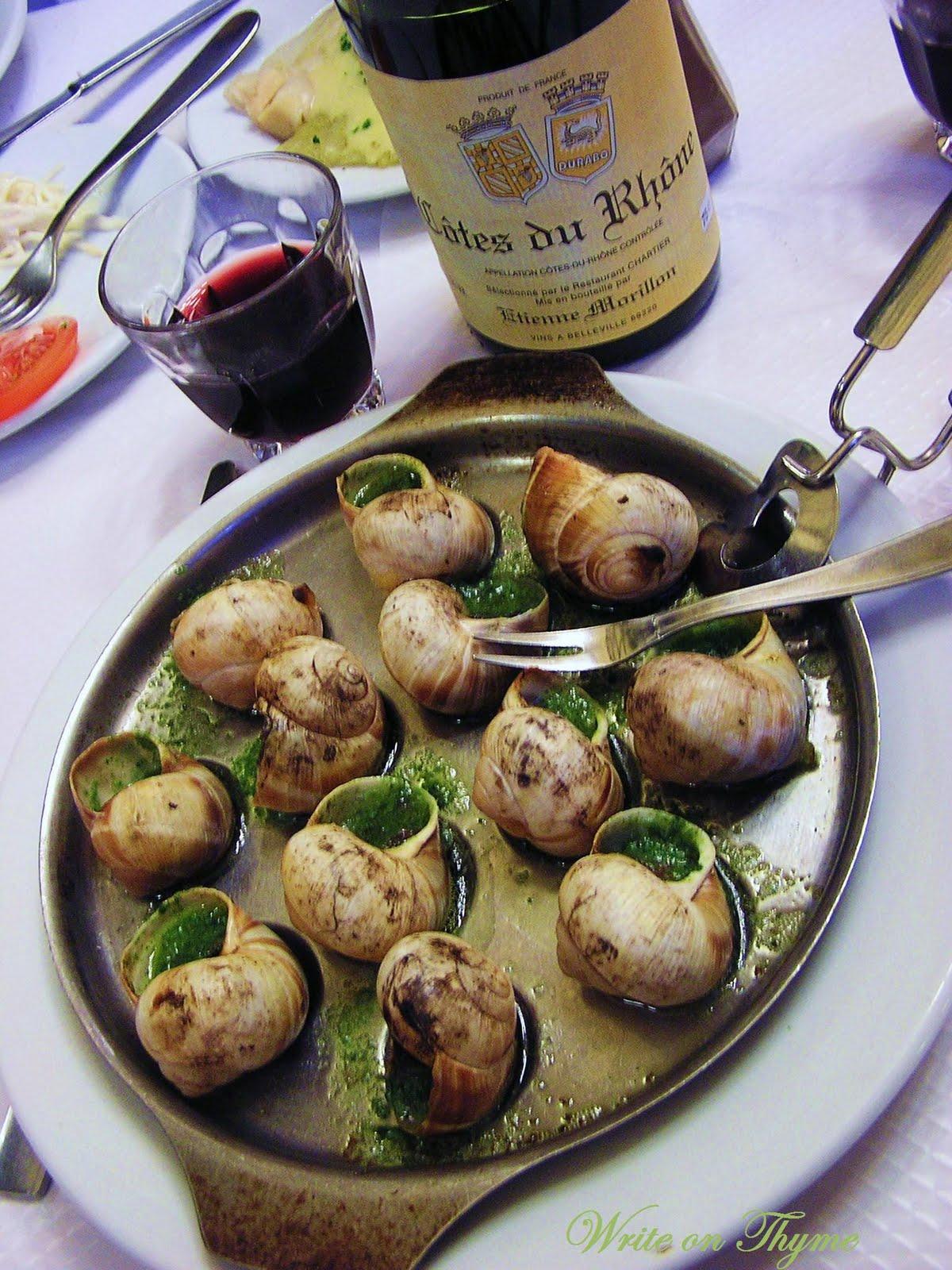 Write on thyme escargot de chartier missing paris day - Cuisiner les escargots de bourgogne ...