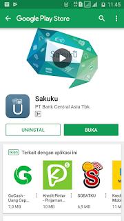 download dan install aplikasi sakuku BCA dari Google Play Store