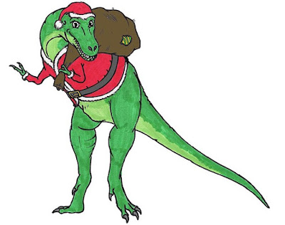 A Tyrannosaurus rex in a Santa Clause suit.