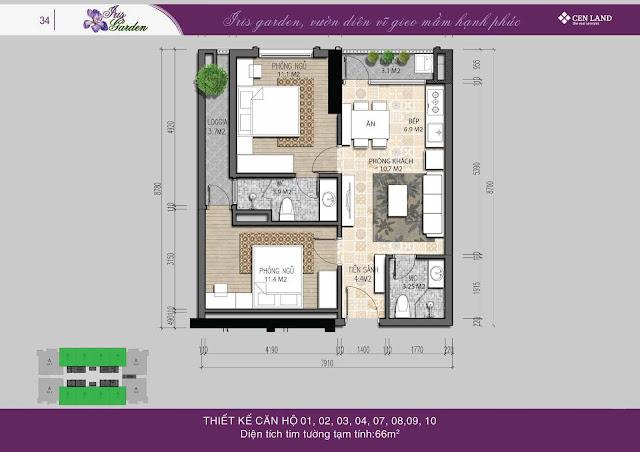 Thiết kế căn hộ 60m2 thông thủy