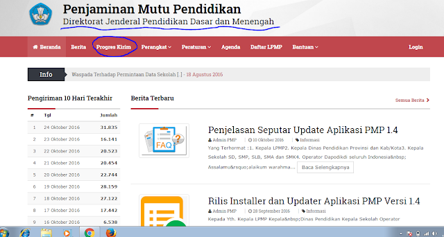 tampilan website PMP