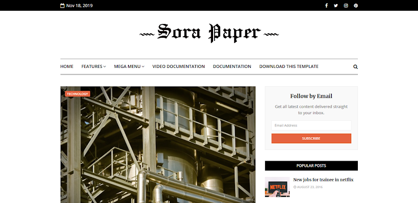Sora Paper Free Blogger Template