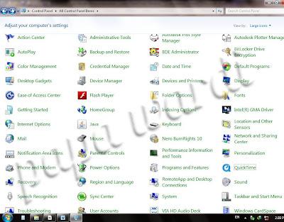 Control Panel, Windows 7