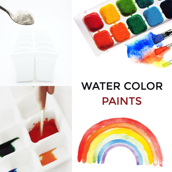 Make your own watercolors paints using this easy recipe for kids! #paintrecipe #paintrecipeforkids #homemadepaint #homemadepaintkids #homemadepaintrecipe