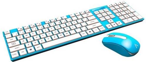 Azio HUE 2, kit de teclado e mouse wireless nas cores azul, rosa e preta