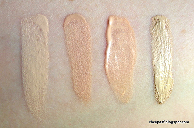 Swatches of Josie Maran Vibrancy Foundation in Dynamic; Maybelline Dream Pure BB Cream in Sheer Light; TheBalm Time Balm Tinted Moisturizer in Light than Light; Maybelline Better Skin foundation in Porcelain