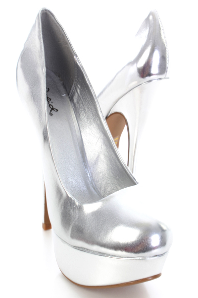 Sexy Women Amp Girl S Shoes Silver Metallic Faux Leather