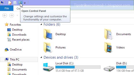 cara mengubah quick access toolbar di file explorer Windows 8.1