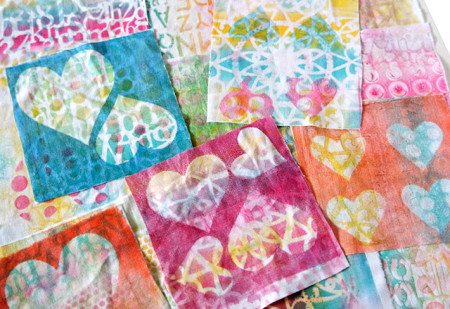 Gelli Art on Fabric: Three Colourful Pouches and Stuffed Hearts