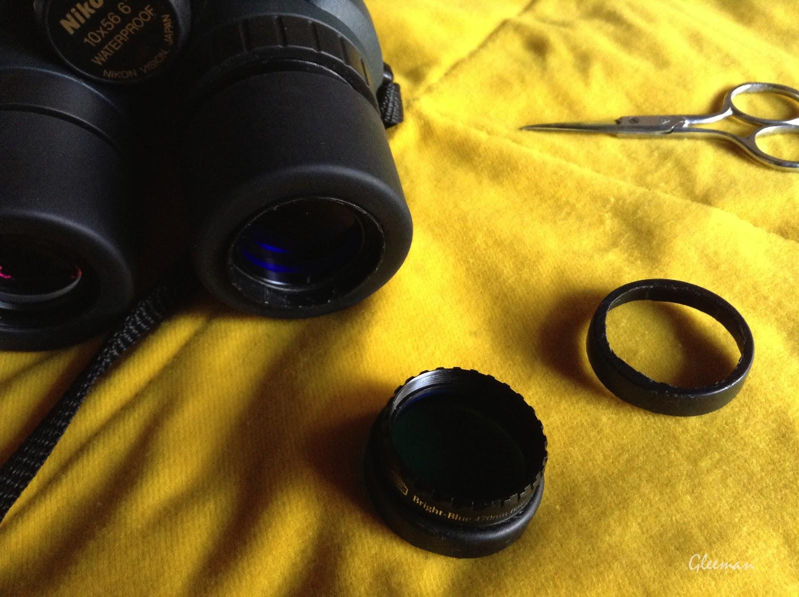 使用天文光害等31.7mm規格濾鏡在雙筒望遠鏡上