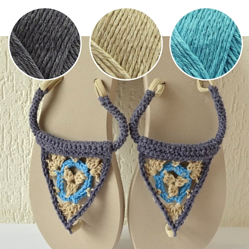 Crochet flip flops, free crochet pattern by Vicarno | Happy in Red