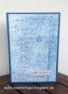 Jeansstoff Stempeltechnik HIntergrund mit Stampin Up jeansblau, Glitzersteinen und Stempelset Bannerweise Grüße